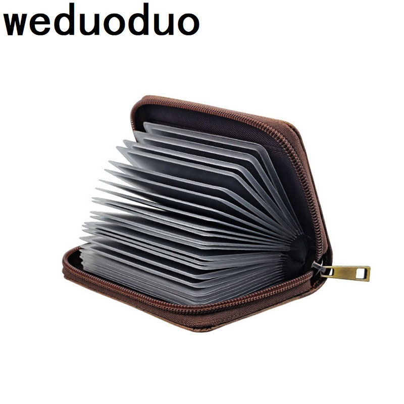 Weduoduo Fashion Genuine Leather Cowhide Rfid Card Holder Women Men Wallet For Credit Card Business Card Holder Organizer Purse bvp business dress wallet long type men high end daily pack money credit card organizer 100% genuine cowhide leather j40