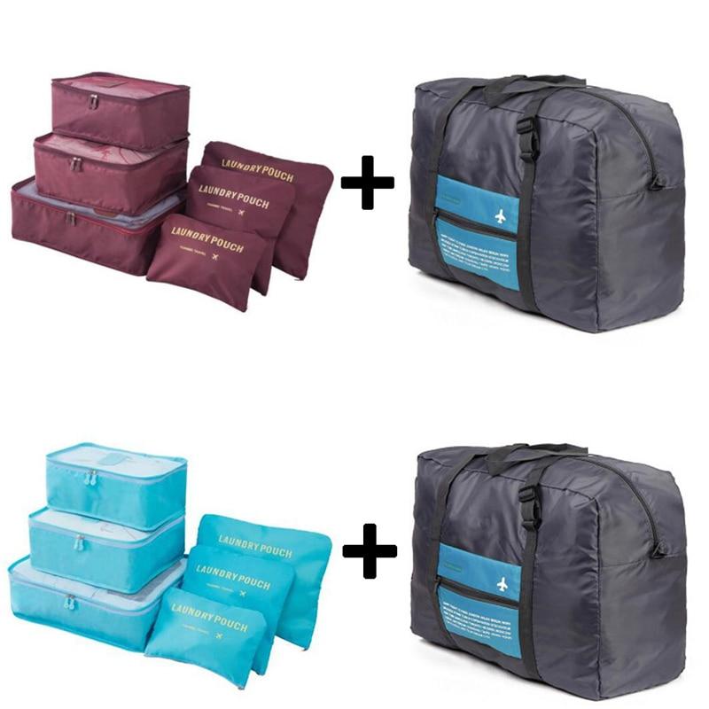 IUX 6pcs / setti Plus-matka-käsilaukut Matkalaukut Matkalaukut Pakkauskuutiot Järjestäjä Nylon-kokoontaitettava laukku-laukut Naiset BolsasValmistus