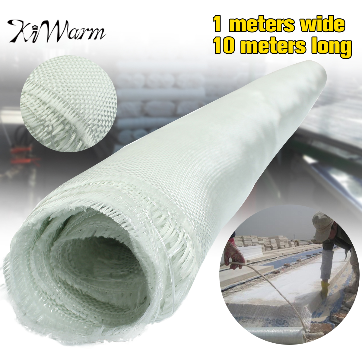KiWarm 1 pc Blanc En Fiber De Verre Tissu Tissé Itinérant Tissu En Fiber De Verre Clair Armure Quilting Tissu Outils Matériel de BRICOLAGE Fournitures 10x1 m