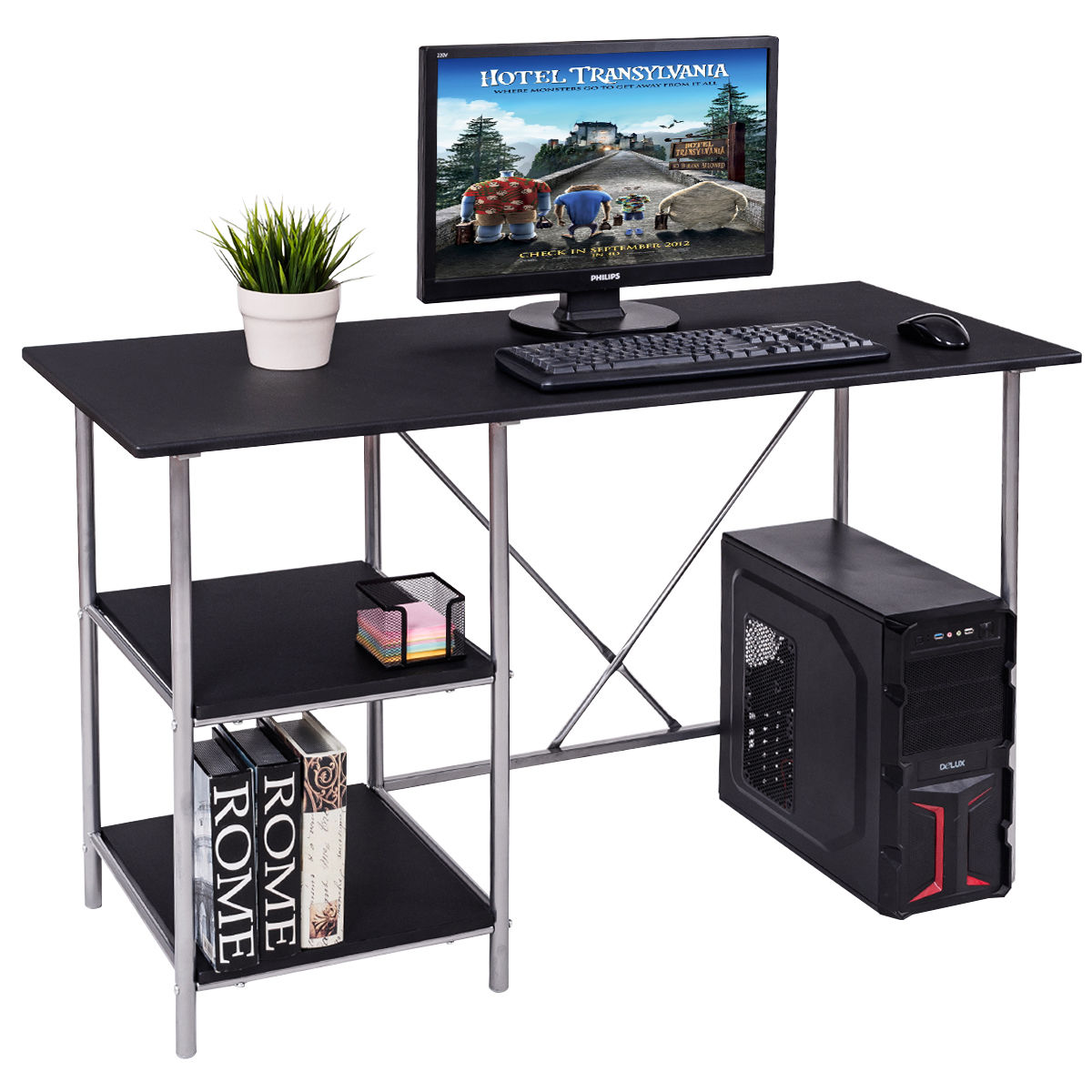 Giantex Computer Desk PC Laptop Table Modern Workstation With Shelves Study Writing Home Office Furniture HW55394
