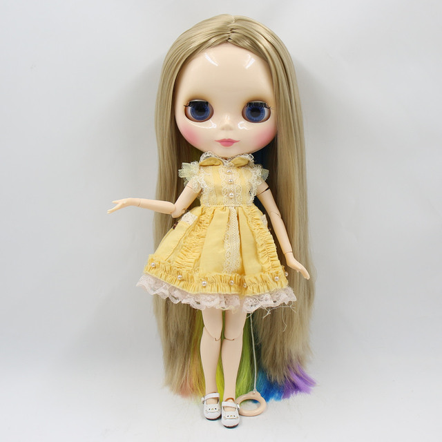 Blyth Doll Nude White Skin New perfect gold with colorful soft straight hair Matte/ Glossy Face Joint Body bjd girl toy gift