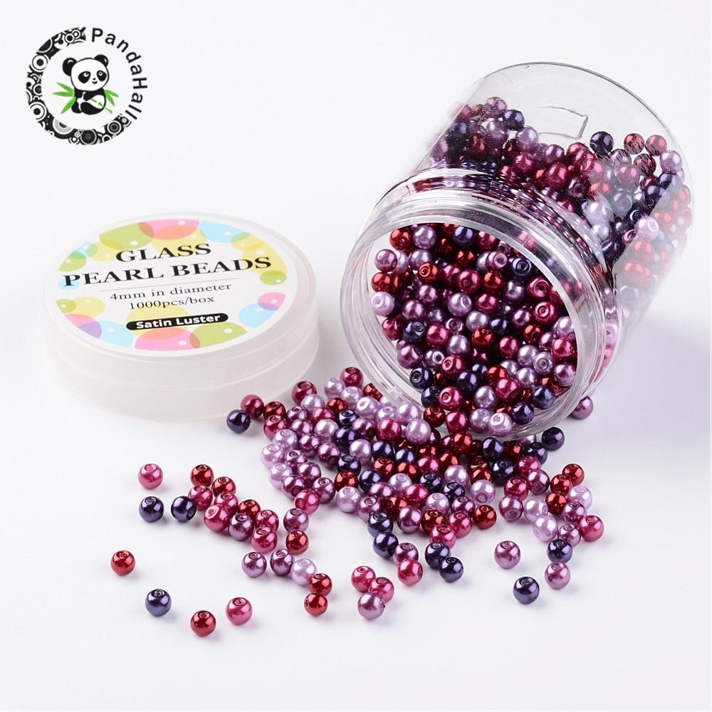 4~4.5mm Round Dyed Glass Pearl Beads Sets loose beads for Jewelry Making DIY Mixed Color, Hole: 0.7~1mm; about 1000pcs/box. free shipping 2500pcs mixed colors mixed sizes no hole round pearls no hole imitation beads craft pearl beads jewelry pearls