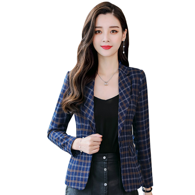 MANDADI fashion Soft cotton Blazer 2018 casual style High-quality plaid jacket single button women coat blazers female Plus size