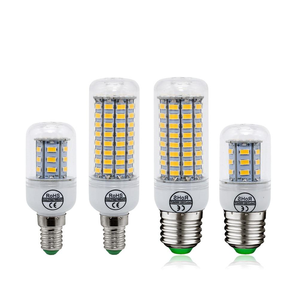 1 шт. E27 E14 Светодиодная лампа SMD 5730 свечах 220 В украшения дома лампы для люстры Spotlight 12 24 36 48 56 69leds