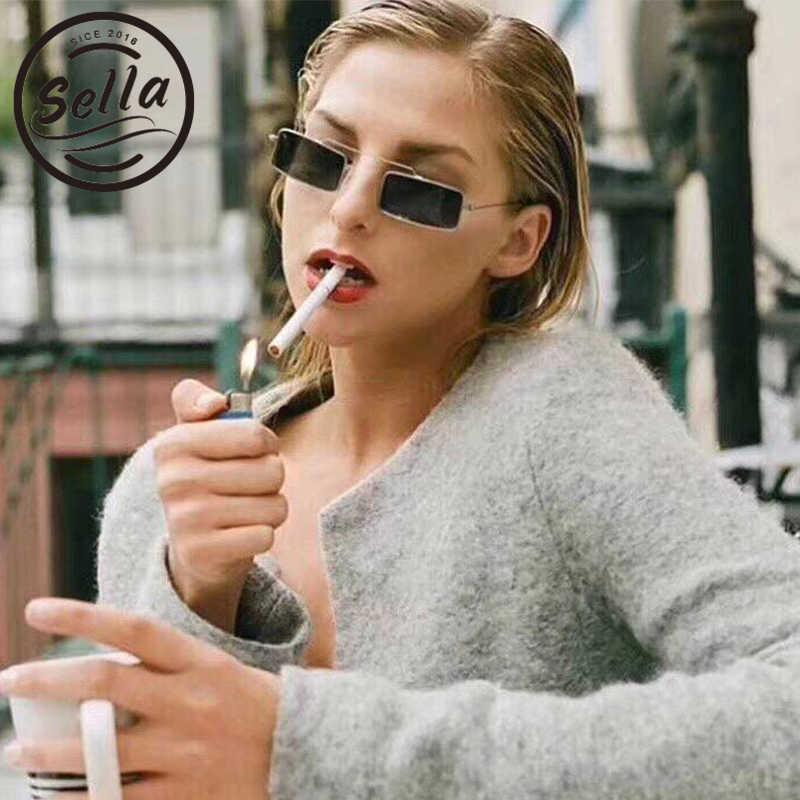 4cc1411364a Sella Vintage Fashion Women Men Small Narrow Frame Sunglasses Retro  Rectangle Brand Candy Color Tint Lens