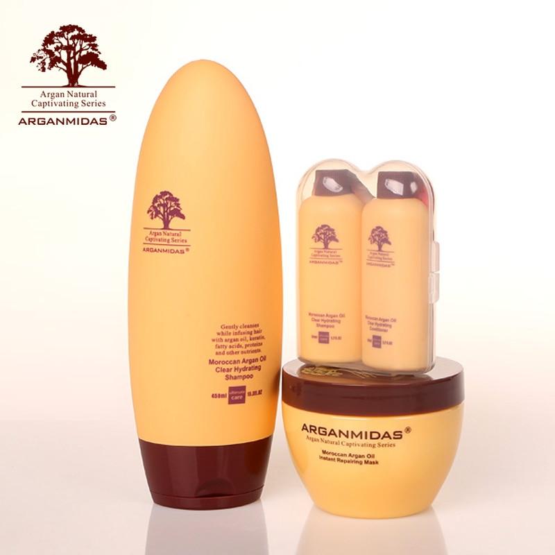Arganmidas 450ML Argan Hair Shampoo+300ML Agan Hair Mask+2pcs 50ML Hotel Hair Shampoo and Conditioner Natural Hair Treatment new product 500ml arganmidas fresh mini hair shampoo