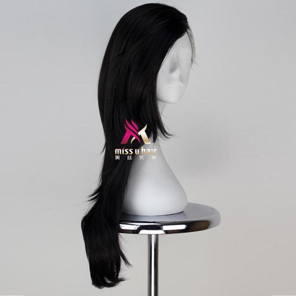 Miss U Hair Men Mask Maker Hair Long Wavy Black Silver Grey Color ...