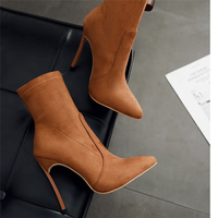 2019 Women 11.5cm High Heels Ankle Fetish Sock Boots Plus Size 42 Thin Heels Winter Boots Stiletto Suede Scarpins Brown Shoes