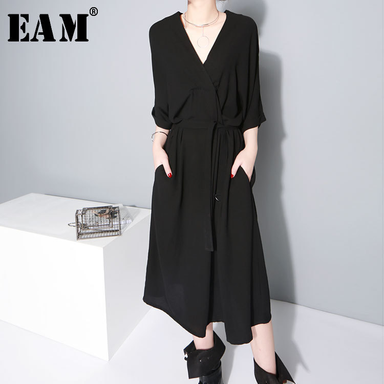 [EAM] 2020 New Spring  Summer V-collar Half Sleeve Bandgae Loose Temperament Loose Big Size Chiffon Dress Women Fashion  JF733