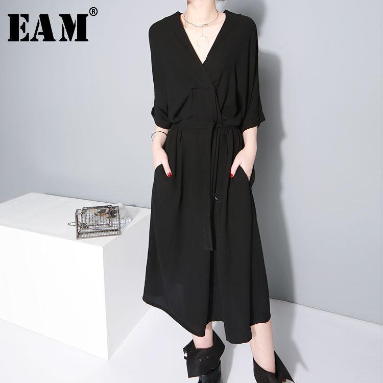 [EAM] 2020 New Spring  Summer V-collar Half Sleeve Bandgae Loose Temperament Loose Big Size Chiffon Dress Women Fashion  JF733