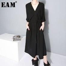 [EAM] 2020 nowa wiosna lato v kołnierz pół rękawa Bandgae luźne Temperament luźne duży rozmiar szyfonowa sukienka kobiety moda JF733