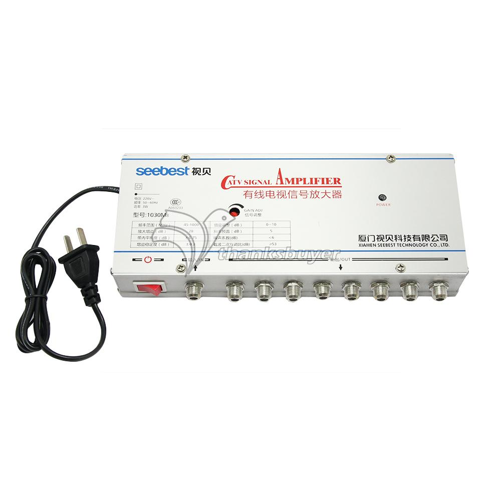 SB-1030M8 8 Way CATV Signal Amplifer Sat Cable TV Signal Amplifier Splitter Booster CATV 30DB gs01 03 3 x 1 3 way 5 2400mhz splitter all ports power pass for satv catv silve