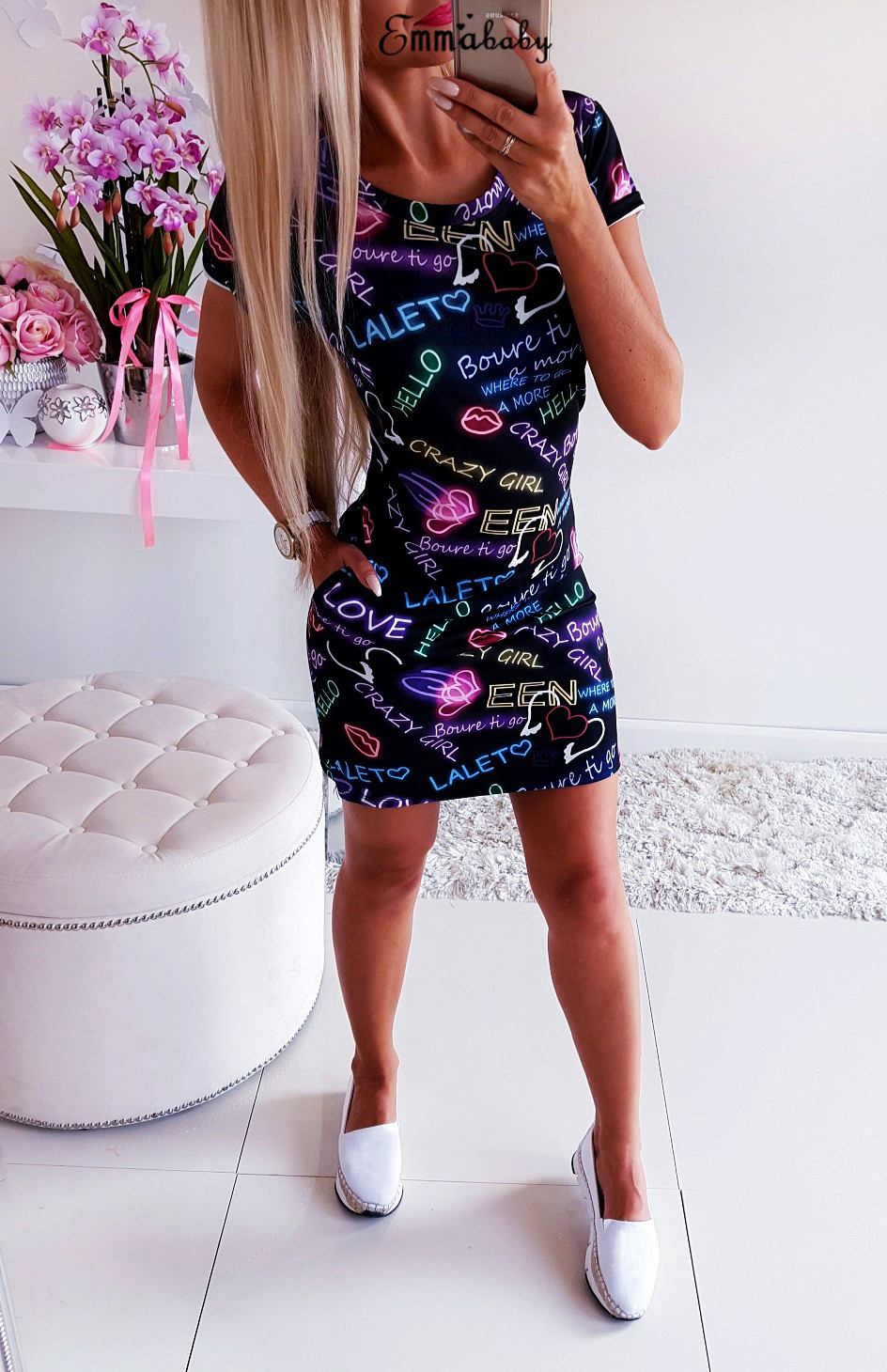 2019 Women Letter Print Heart O-Neck Slim Blue Bandage Bodycon Short Sleeve Evening Party Club Wear Short Mini Casual Dress