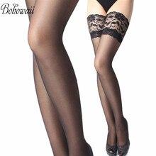 BOHOWAII кружевные чулки для женщин сплошной цвет бедра высокие носки Высокое качество сексуальные гольфы