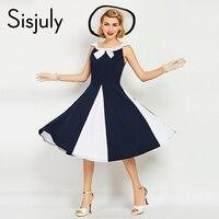 Sisjuly Vintage 1950s Retro Jurken Vestido De Festa Summer ONeck Women Dress Elegant Bow Women Vintage