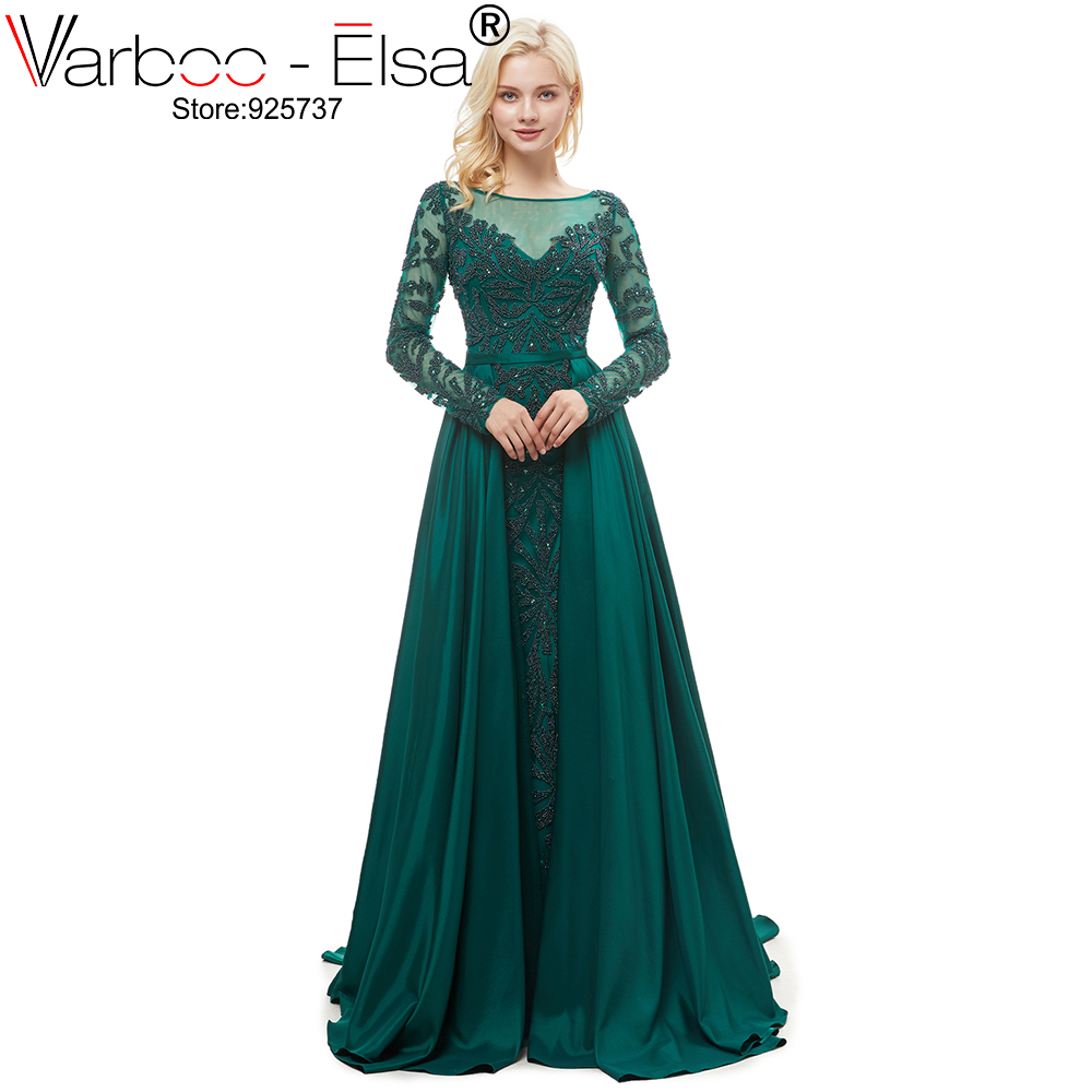 VARBOO_ELSA Luxury Dark green Beading Long sleeves O Neck With Train Evening Dress Crystal Tulle Formal Long Evening Dress (China)