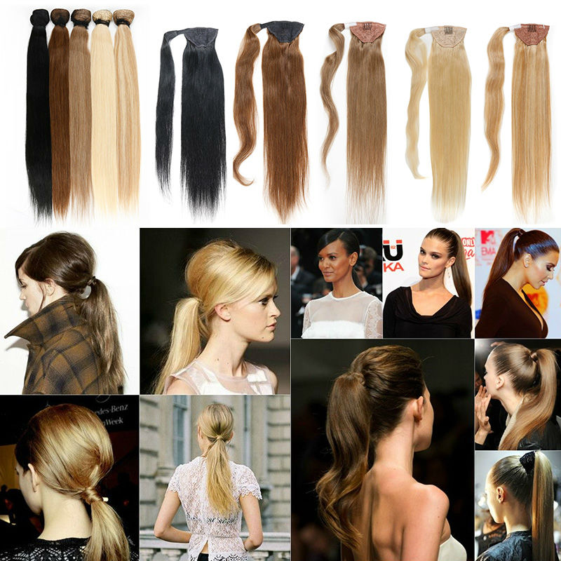 Ponytail Human Hair Drawstring Unprocessed Human hair 100g All Colors Full Head set Ponytail Clip in Brazilian hair extention