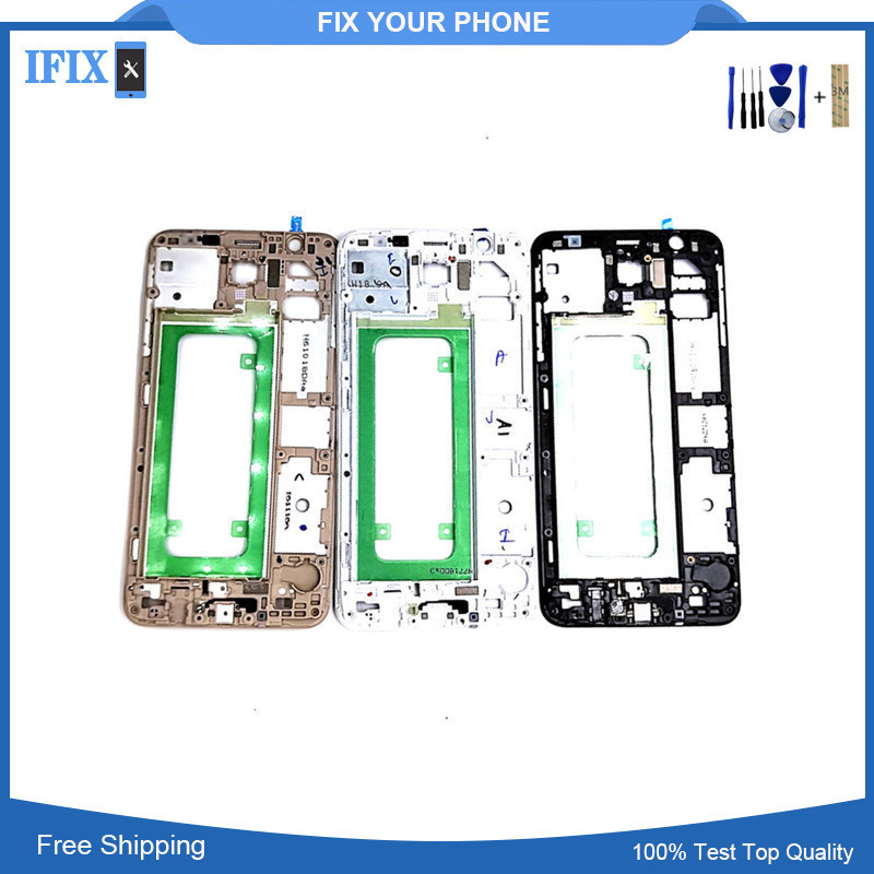For Samsung Galaxy J7 Prime G610 Screen Display Front Housing Bezel Frame Replacement Part Black White Gold AAA Quality In Stock