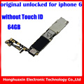 Desbloqueio de fábrica mainboard sem fingprint para iphone 6 64 gb original placa lógica motherboard sem touch id do sistema ios