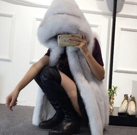 Argent Fourrure 2016 Nouveau Taille silver Imitation Color Plus Dames Red black À Capuchon Fox Renard Manteau De Printemps La Femmes Gilet fox WW8rfqI