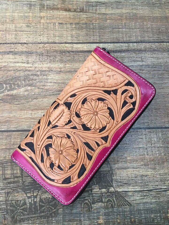 handmade carve vintage flower picture genuine leather women wallets men wallets ladies wallets and purses wallets