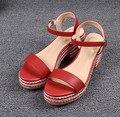 Black Wedges Sandals Women Shoes Genuine Leather Platform Sandals Shoes For Women 7CM High Heels Peep Toe Wedge Sandales FS-0069