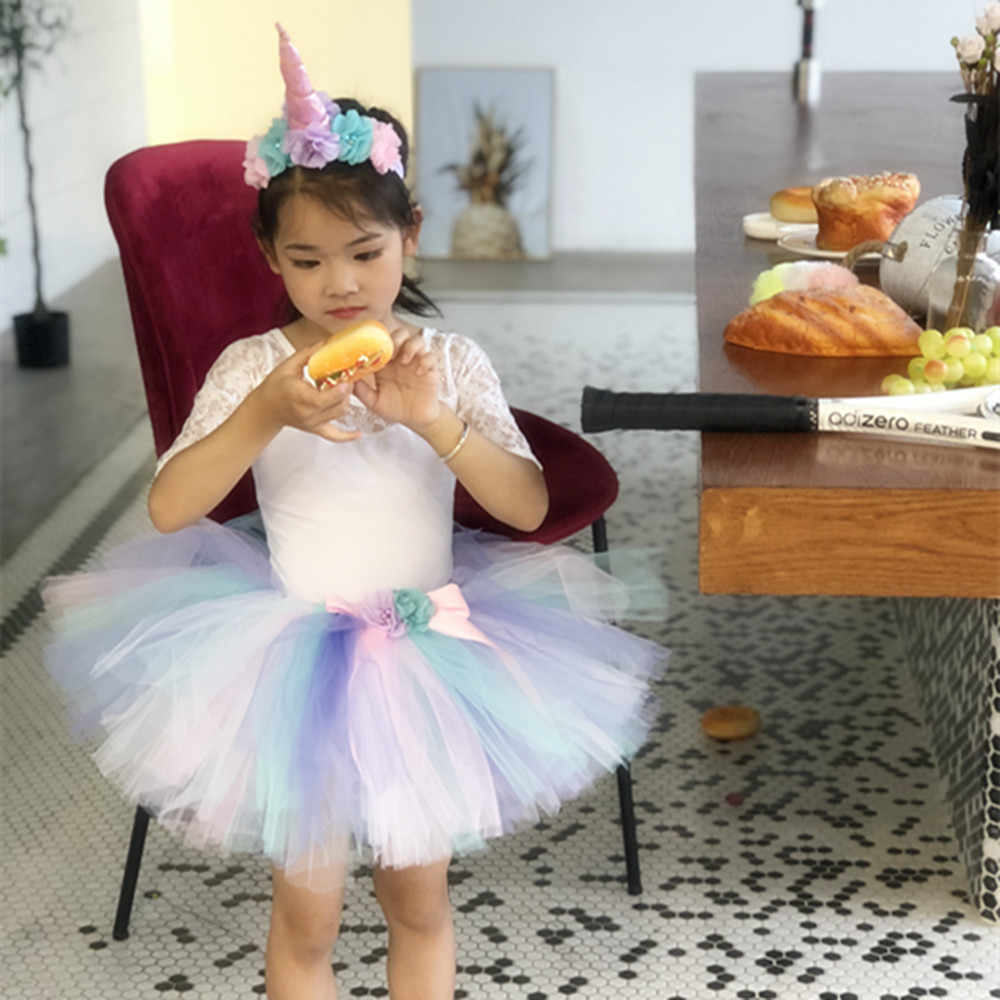 a3822ddc6 ... Pastel Unicorn Tutu Skirt with Flower Headband Children Bustle Birthday  Party Tulle Tutu Skirts For Photos
