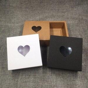 Image 4 - 50ピースクラフト引き出しボックス付きpvcハート窓用ギフトの手作り石鹸工芸品のジュエリーはマカロンパッキングブラウン紙収納ボックス