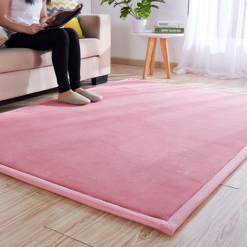 <+>  Утолщенный коралловый бархат равнина ковер гостиная диван коврик спальня комната прикроватный коврик ★