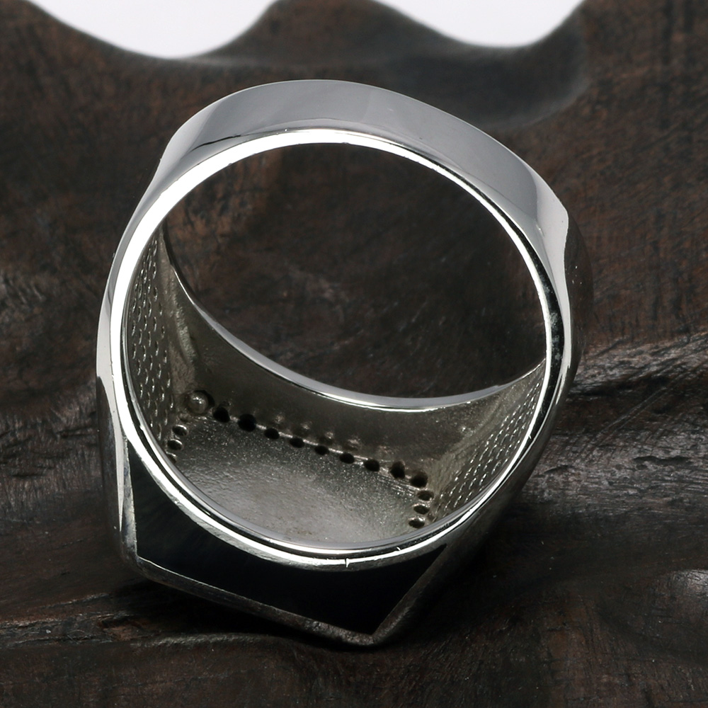 Real 925 Sterling Silver Rings Turkish Rings For Men Rings With Square Imitated Stone Black Micro Pave Zircon Turkey Jewelry