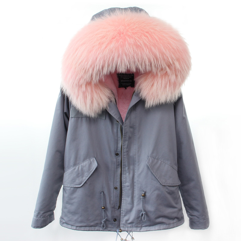 RosEvans Spring Winter 2 in 1 Detachable Soft Fur Inner and Large Real Raccoon Fur Collar Women Parker Jacket Coat Female B302 2017 winter new clothes to overcome the coat of women in the long reed rabbit hair fur fur coat fox raccoon fur collar