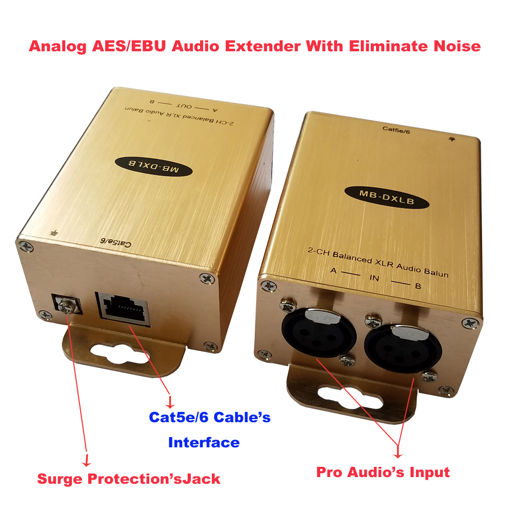 Cat5 Balanced Audio Extender XLR Audio Balun AES Analog Audio Over Cat5-in Amplifier from Consumer Electronics    3