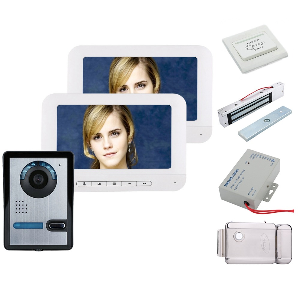 Home Security 7 Inch TFT 2 Monitors Video Door Phone Doorbell Intercom Kit 1-camera 2-monitor Night Vision+Electronic Locks Set
