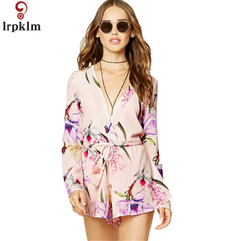 Apparel Sexy Deep V Neck Hollow Floral Elegant Jumpsuit Romper Summer Style Beach Short Playsuit Women guaze boho overalls YY323
