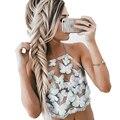 Elegant Halter Crop Top Summer Beach Backless Organza Short Tops Sexy Camis Gauze Butterfly Embroidery Cute Women Girls Tank Top