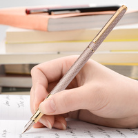 חדש גיבור 10K זהב ציפורן מתכת אפור עט נובע Slim-ארוך דיו עט עירוני אופנה נשים ליידי אדווה איכות עט כתיבה מתנה עט סט