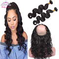 360 Lace Frontal with Bundle Malaysian Virgin Hair Body Wave Pre-Plucked 360 Frontal with Baby Hair Natural Hairline Virgin Hair