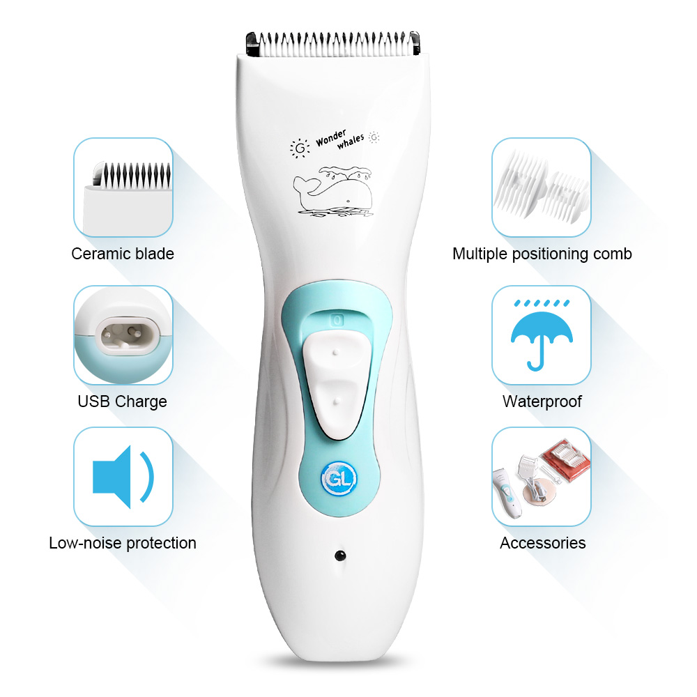 GL USB Rechargeable Baby Electric Hair Clipper Waterproof Powerful Hair Trimmer For Baby Electric Hairdressing Tool Soundless