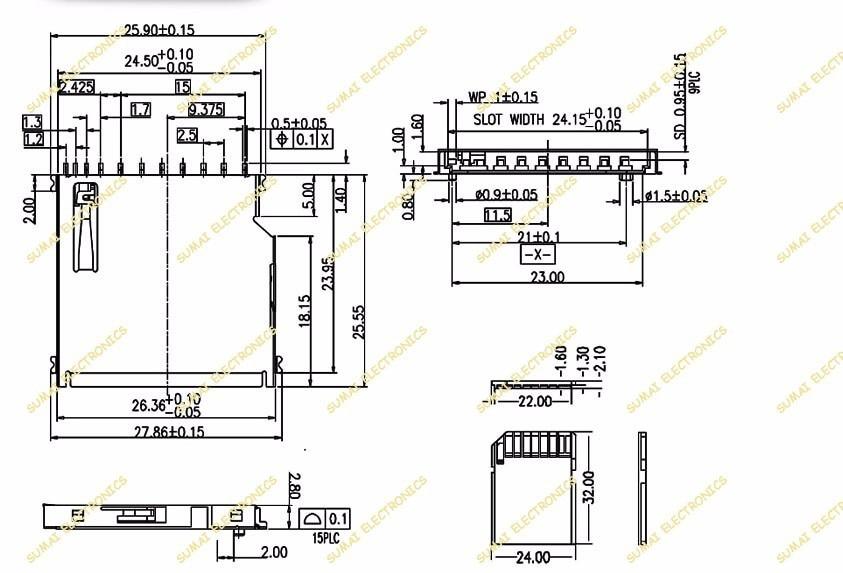 US $9 24 21% OFF|Aliexpress com : Buy 25pcs/lot Big Large 11P 11 Pin SD  card holder connector Slot SD Memory card Sockect Self Push holder Copper