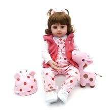 100% Handmade Craftwork Silicone Reborn Baby Dolls Kids Toy Christmas Gift 58cm/48cm adorable Lifelike toddler girl Reborn Dolls