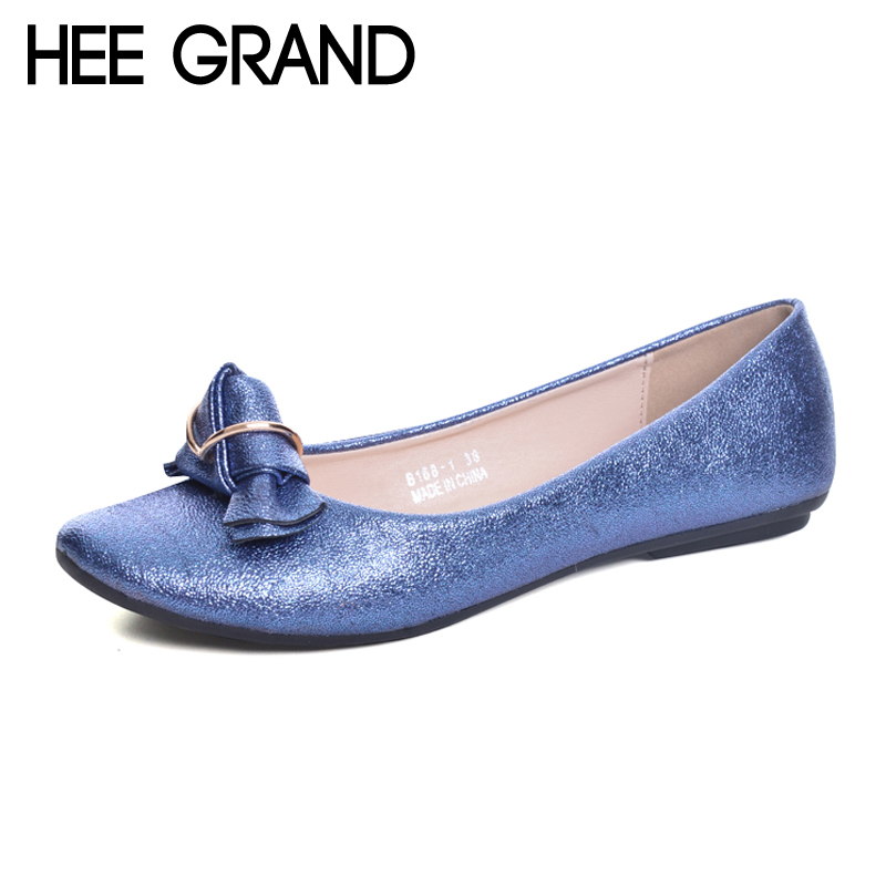 HEE GRAND 2017 Loafers Casual Platform Shoes Woman Bowtie Ballet Flats Slip On Comfort Fashion Women Shoes Size 35-41 XWD5980 hee grand summer gladiator sandals 2017 new platform flip flops flowers flats casual slip on shoes flat woman size 35 41 xwz3651