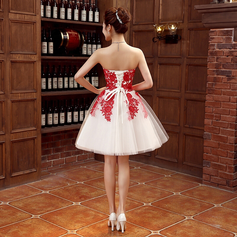 ccbeefb4c297 strapless dress bridemaid short red lace ivory summer bridesmaids ball  dresses girl 8 for teens wedding guests free shipping-in Bridesmaid Dresses  from ...