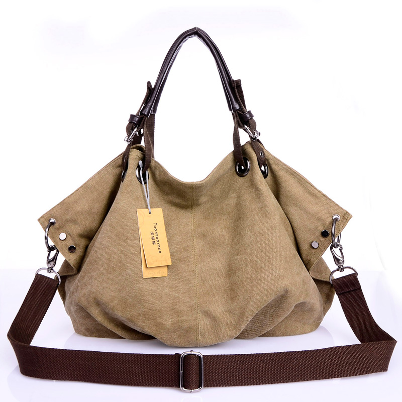 Image 5 - Women Canvas Messenger Bags Female Crossbody Bags Solid Shoulder Bag Fashion Casual Designer Female Handbag Large Capacity Tote-in Shoulder Bags from Luggage & Bags