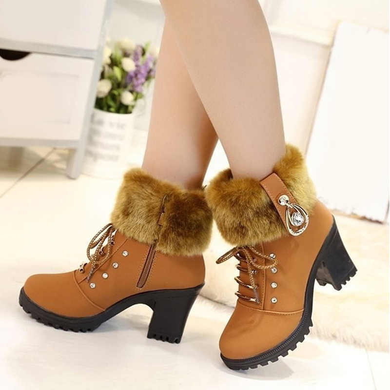 MCCKLE/ботильоны; женские теплые плюшевые зимние ботинки; женская модная обувь со шнуровкой и кристаллами; обувь на высоком квадратном каблуке; Botas