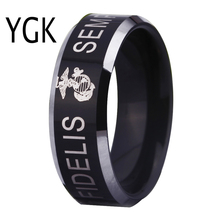 YGK USA Military Ring United States MARINE CORPS US ARMY Men Signet Ring Comfort Fit USMC Semper Fidelis Tungsten Wedding Ring