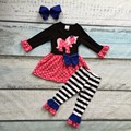 baby girls fall boutique outfits girls unicorn clothing children hot polka dot dress with stripe ruffle pant with bows