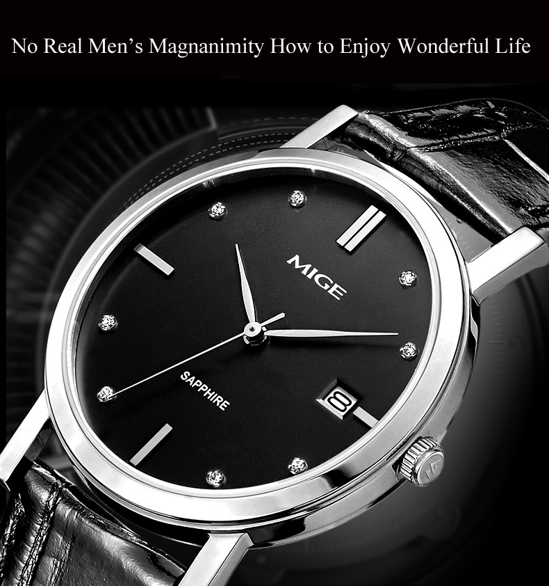 MIGE Fashion Luxury Men Women Watch Quartz Calendar Synthetic Sapphire Glass Rhinestone Waterproof Cowhide Leather Strap Relogio holuns watch women sapphire glass white dial quartz waterproof multicolor red leather strap watch