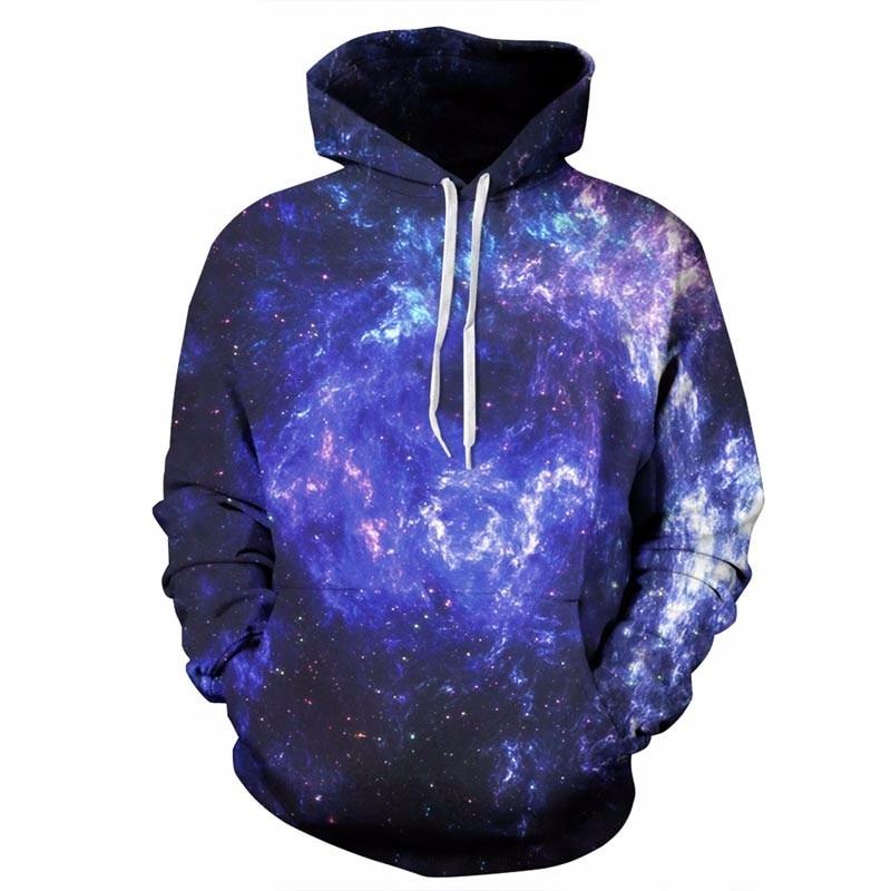 Headbook Space Galaxy Hoodies Men/Women 3d Sweatshirts With Hat Print Blue Nebula Autumn Winter Thin Hooded Hoody Tops DM127