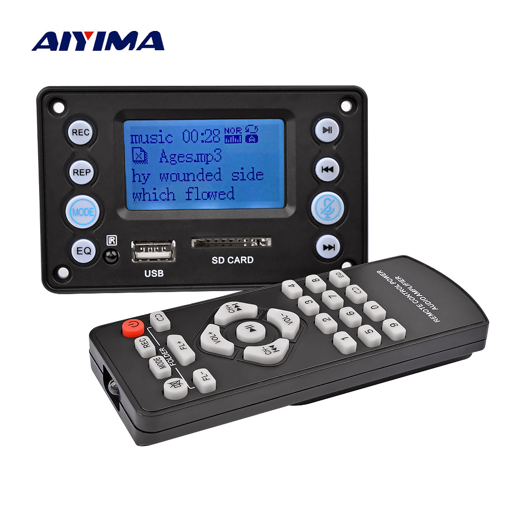AIYIMA 5V LCD MP3 Decoder Board Bluetooth 4.2 Audio Receiver APE FLAC WMA WAV Decoding Support Recording Radio Lyrics Display(China)