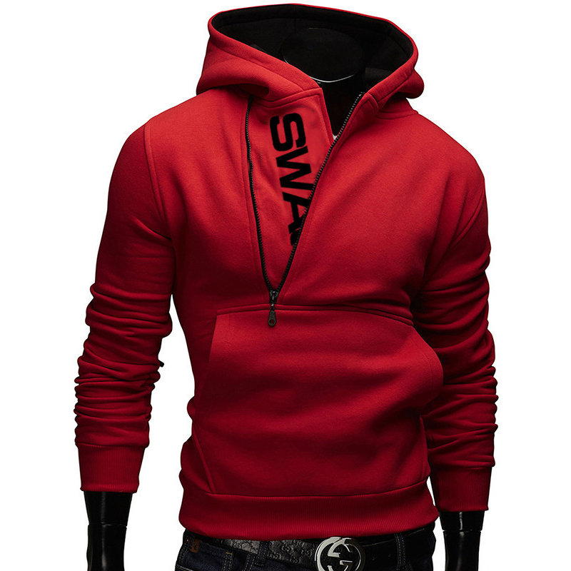 Side Zipper Hoodies Men Cotton Sweatshirt Spring Letter Print Sportswear Slim Pullover Tracksuit Hip Hop Street wear 8